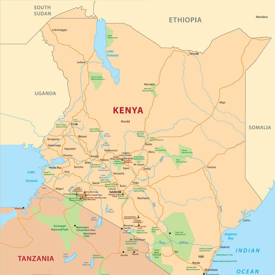 Kenya Safari Map