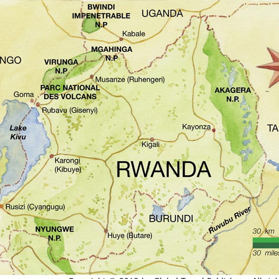Rwanda Safari Map