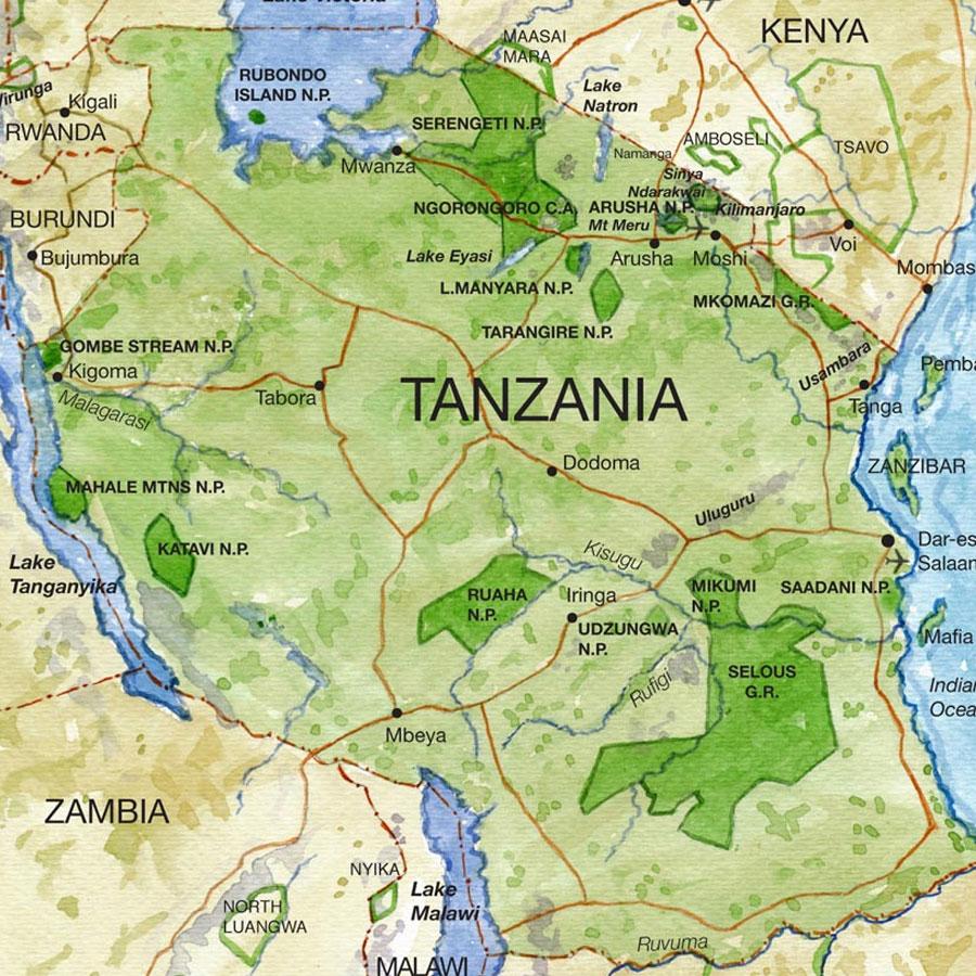 Tanzania Safari Map